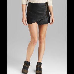 Free people faux leather wrap mini skirt